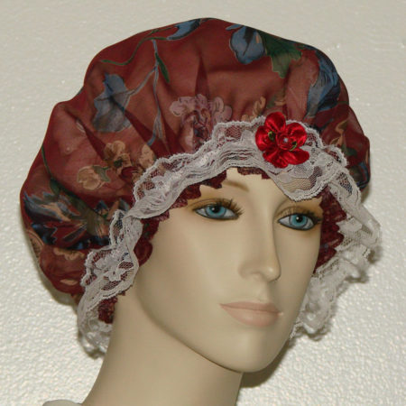 Dark Red Silk Hair Bonnet
