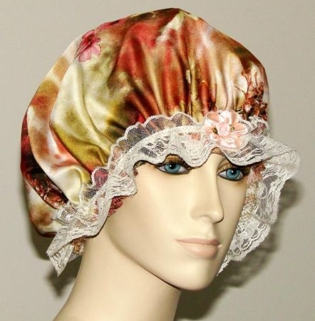 Multi-color Floral Satin Hair Bonnet