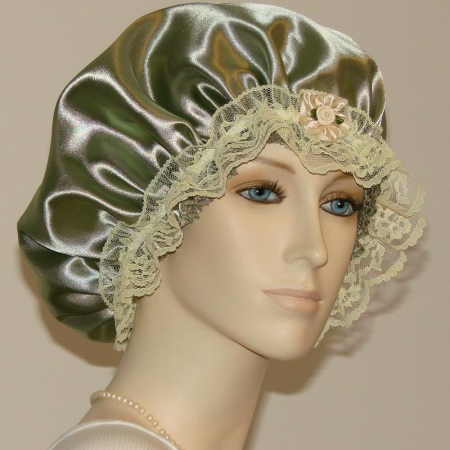Olive Green Satin Hair Bonnet
