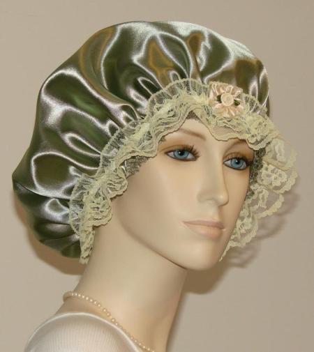 Olive Green Satin Hair Bonnet