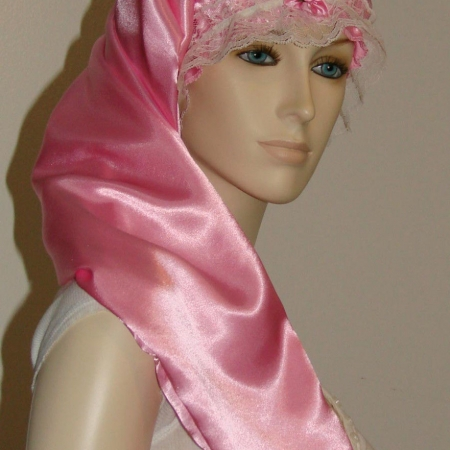 Pink Satin Long Hair Bonnet