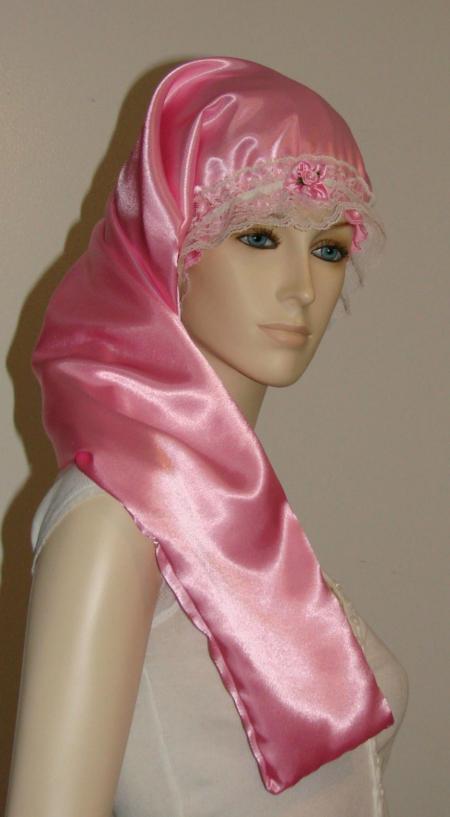 Pink Satin Long Hair Bonnet