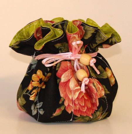 Pink Roses Floral Jewelry Pouch Organizer