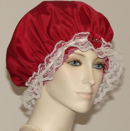 Red Silk Hair Bonnet