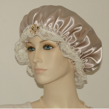 Taupe Hair Bonnet Cream Lace