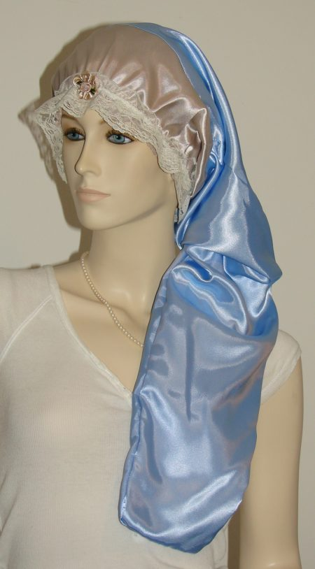 Taupe Dark Blue Satin Hair Long Bonnet