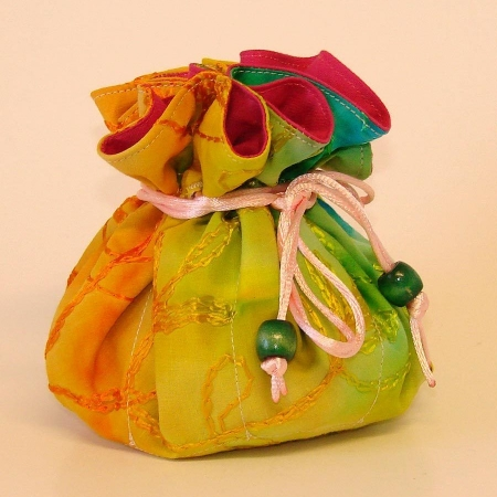 Multi-color Tie Dye Embroidered Jewelry Pouch Organize
