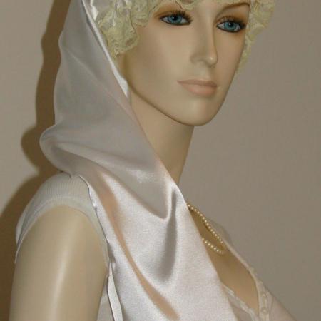 White Satin Long Hair Bonnet