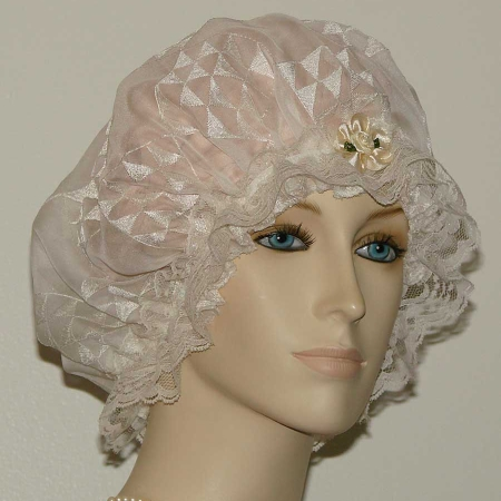 Off White Chiffon Silk Hair Bonnet
