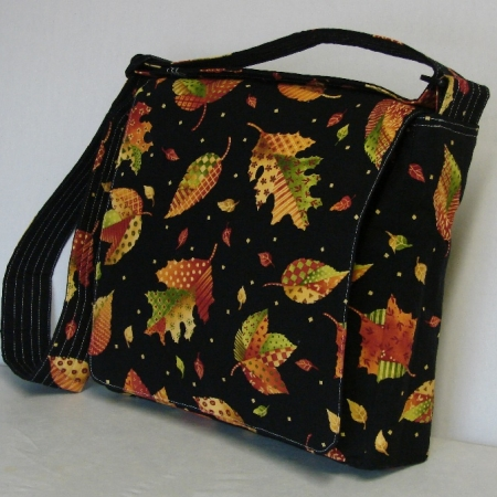 Autumn Leaves Black Messenger Bag
