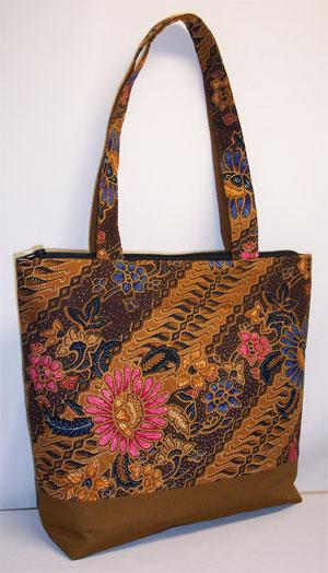 Batik Print Brown Tote Bag Pauljulia Designs