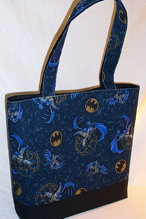 Bag made from Batman print fabric