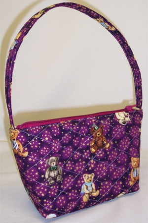 Teddy Bear Holiday Print Handbag
