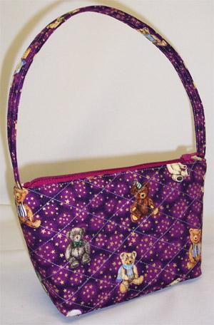 Teddy Bear Holiday Print Handbag