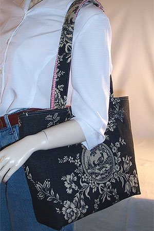 Country House Black Toile Tote Bag