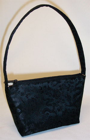 Black Brocade Silk Handbag