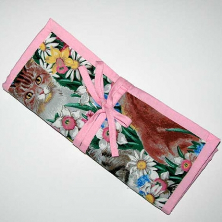 Cats and Flowers Crochet Knitting Organizer