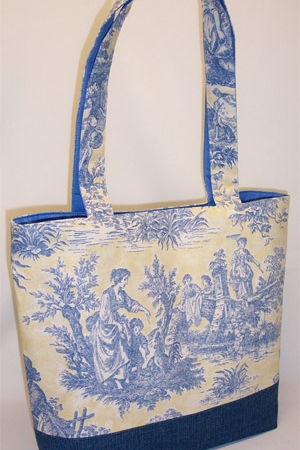 Blue Yellow Country Life Toile Bag