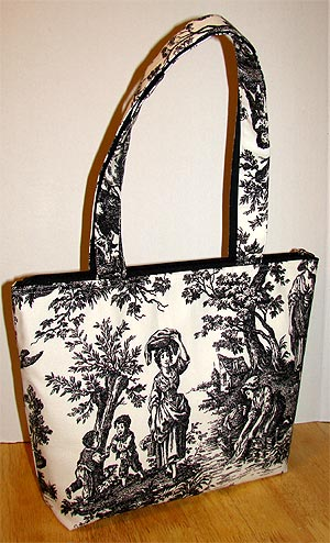 Country Life Black Toile Tote Bag