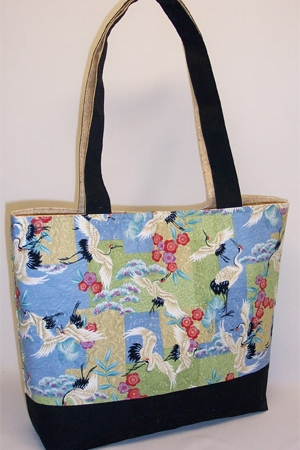 Crane Bird Print Tote Bag