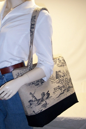 Provence Taupe Print Toile Tote Bag
