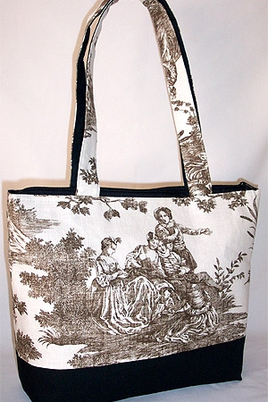 Summer Fun Toile Print Tote Bag