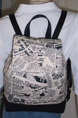 Newspaper Print Collage Backpack