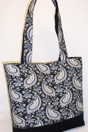 Paisley Floral Black Print Tote Bag