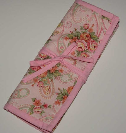 Pink Paisley Crochet Knitting Needles Organizer