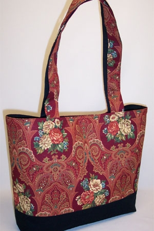 Paisley Dark Red Tote Bag