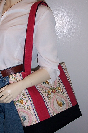 Country Rooster Toile Tote Bag