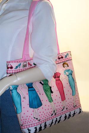 Retro Ladies Print Tote Bag