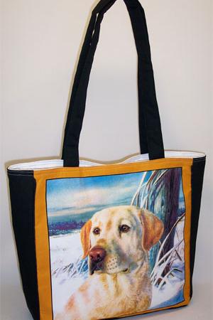 Yellow Lab Dog Print Tote Bag